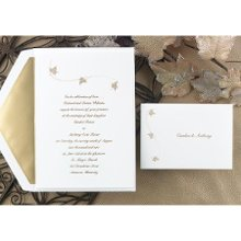 Whisked Away Wedding Invitations - Three maple leaves drift across the top of this bright white non-folding invitation with beauty. Your wording is showcased below. Design and wording are printed in the same ink color. Card Size: 5 1/8