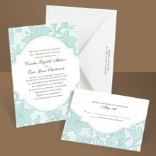 "Delicate lace is depicted in such detail on this aqua, vintage wedding invitation that it brings a unique sense of texture to the design. Matching respond postcards are available with this invitation as well as matching reception cards and regular respond cards. Enclosures are printed on non-folding cards. * paper weight - quality 80# cover * Includes FREE blank single envelopes * Enclosures sold separately Size: 5 1/8"" x 7 1/4"""