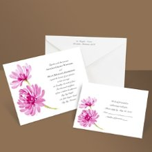"Romantic peonies in vivid watercolor lend a garden-inspired quality of grace and beauty to this fuchsia floral wedding invitation. Want to save money on postage? Choose coordinating respond postcards. Enclosures are printed on non-folding cards. Size: 7 1/4"" x 5 1/8"""