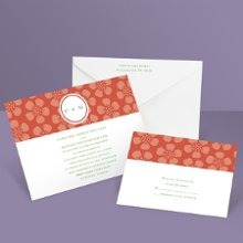Pretty Petals Wedding Invitation A modern delight of daisy-inspired flowers and vibrant color! These dark orange, floral wedding invitations are an excellent introduction to spring and summer weddings. Want to save money on postage? Choose coordinating respond postcards. Enclosures are printed on non-folding cards.