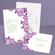 Modern Floral Purple Wedding Invitation Flowering beauty with a sassy twist, this purple floral wedding invitation was designed to get attention through modern style and captivating color. Matching respond postcards are available with this invitation as well as matching reception cards and regular respond cards. Enclosures are printed on non-folding cards.