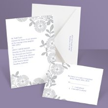 Modern Floral Sterling Wedding Invitation Flowering beauty with a sassy twist, this gray floral wedding invitation was designed to get attention through modern style. You can create an entire ensemble of coordinating pieces with matching respond cards and reception cards. Enclosures are printed on non-folding cards.