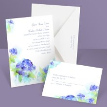 Beauty In Blue Wedding Invitation These watercolor wedding invitations with blooming flowers in vibrant blues and greens become sweet representations of your love and commitment. Available with matching reception cards, respond cards or respond postcards! Enclosures are printed on non-folding cards.
