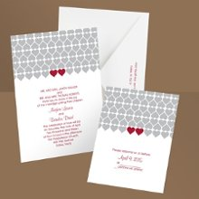 Sweet Hearts Barn Red Wedding Invitation Let friends and family know you'll soon be changing from sweethearts to newlyweds and they're invited to join in the fun! Two red hearts placed side by side pop with color from the gray pattern featured on these heart wedding invitations. Want to save money on postage? Choose coordinating respond postcards. Enclosures are printed on non-folding cards.