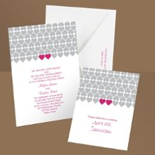 Sweet Hearts Lipstick Pink Wedding Invitation Let friends and family know you'll soon be changing from sweethearts to newlyweds and they're invited to join in the fun! Two fuchsia hearts placed side by side pop with color from the gray pattern featured on these heart wedding invitations. Check out the matching enclosure cards which include economical respond postcards. Enclosures are printed on non-folding cards.