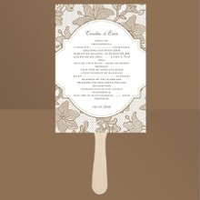 Vintage Lace Latte Wedding Program Delicate lace is depicted in such detail on these taupe wedding program fans that it brings a unique sense of texture to the design. This one-sided program fan features your wording within a crest-like design. Our Vintage Lace program fans are the perfect complement to our Vintage Lace wedding invitations. Fans come with a wooden handle and glue dots for attaching. Assembly required. Choose an imprint color and typestyle for your wording.