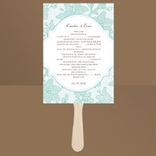 Vintage Lace Lagoon Wedding Programs Delicate lace is depicted in such detail on these aqua wedding program fans that it brings a unique sense of texture to the design. This one-sided program fan features your wording within a crest-like design. You will also find this beautiful design on the matching Vintage Lace wedding invitation. Fans come with a wooden handle and glue dots for attaching. Assembly required. Choose an imprint color and typestyle for your wording.