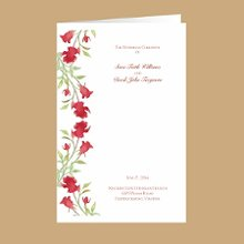 Watercolor Roses Red Wedding Program Watercolor roses lend a refined quality to this red floral, DIY wedding program. The front panel is printed with your names and wedding date. You print the inside panel with your ceremony details. Digital printing has made this item an affordable option for your wedding budget. Take a look at our matching Watercolor Roses invitations and address labels for a complete set.