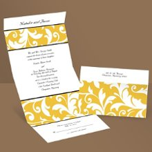 Flourishes Silhouettes Yellow Wedding Invitation Seal and Send Silhouettes of bold flourishes create a stylish look that's sure to impress your guests when they receive this yellow flourish, seal and send wedding invitation. Much like a wedding invitation kit, seal and send invitations come with the important necessities, such as reception wording, a response postcard, return address printing and clear round seals for securing.