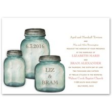 Canning Jars Invitation Classic country canning jars contain your names and wedding date on these rustic wedding invitations. Your wording is printed in your choice of imprint colors and typestyles. Invitation includes outer envelopes. Matching canning jar enclosures are available - we bet you can't contain your excitement! Enclosures are printed on non-folding cards.
