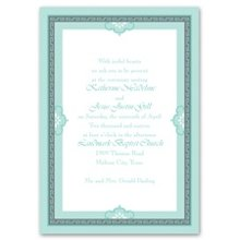 Charming Frame Invitation A charming frame to introduce a charming wedding! A patterned frame with whimsical, cloud-like accents wraps around your wording. Border and wording print in your choice of imprint colors. Choose any two imprint colors and typestyles for your wording. The matching enclosure cards feature the same charming borders. Invitation includes outer envelopes.