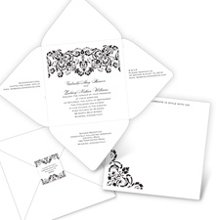 Damask Band - Seal and Send Invitation A band of elaborate damask flows along the top of this white seal and send wedding invitation, highlighting your sophisticated wedding style. Damask design prints in the same ink color as your wording. This style of seal and send includes your response wording, reception wording and an additional area for other wedding details. You may choose to purchase a plain white response card with envelope instead of, or in addition to, the response wording on your invitation. Your return address is printed on the coordinating seals included with the seal and send. The seal is placed on the front to secure the invitation closed; the guest's address is written on the back. This invitation features thermography printing, an affordable printing process that results in raised lettering. Please note that additional postage is required for mailing square wedding invitations.