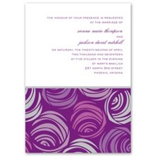 Funky Flowers Invitation This purple wedding invitation's display of funky flowers is enough to satisfy your modern sense of style. The matching response cards and reception cards are also very affordable, so you can create an invitation ensemble you're proud to send to friends and family. Invitation includes outer envelopes.