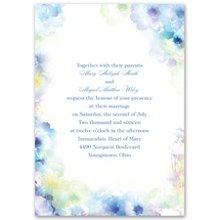 Heavenly - Invitation The watercolor flowers framing your wording on this white wedding invitation are simply heavenly, and the matching enclosure cards are just as dreamy. Choose the enclosure you want and create your wedding invitation ensemble for a price you never thought possible. Invitation includes outer envelopes.
