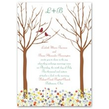 Love Springs Invitation Let this wedding invitation's delightful scene introduce your spring wedding. Love springs up in a beautiful array of colorful flowers below two lovebirds perched in the forest trees. The birds and your wording are printed in your choice of colors and lettering styles. The matching enclosures feature the birds perched on colorful flowers, an adorable complement to your invitation ensemble. Enclosures are printed on non-folding cards.