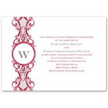 Regal Appeal - Monogram - Invitation An invitation with rich design doesn't have to cost a fortune. This invitation's regal details around your monogram create an attractive invitation that's simple and affordable. Design and wording print in your choice of imprint colors. Choose any two imprint colors and typestyles for your wording. Consider purchasing the matching response postcard to save even more money on your entire ensemble. Invitation includes outer envelopes.