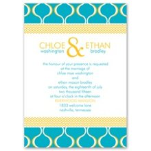 Simply Mod Invitation Mod patterns in your choice of colors make this mixed patterns wedding invitation simply the right choice for your unique style. Design and wording print in your choice of colors and typestyles. Invitation includes outer envelopes. The coordinating enclosures feature a different pattern, which adds even more fun to the mix. Enclosures are printed on non-folding cards.