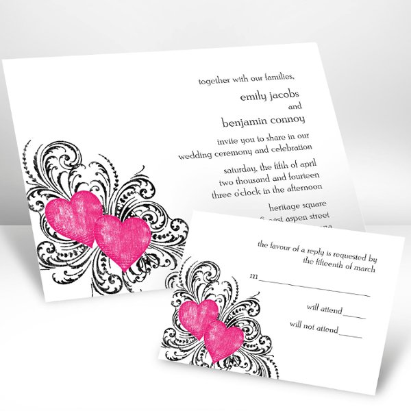 "Hearts and Flourishes Lipstick Wedding Invitations - Hearts and flourishes symbolize your everlasting love on this white, non-folding invitation. Choose an imprint color and typestyle for your wording. Format only available as shown. Enclosures and thank you notes are printed on non-folding cards. Invitation size: 6 1/4"" x 4 5/8"""