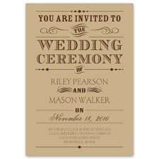 Typography Invitation Trendy typography looks amazing on this kraft paper wedding invitation and is sure to get attention. All wording is printed in your choice of ink color. Your names, wedding date and wedding details are printed in your choice of typestyles. Be sure to purchase the matching enclosures also printed on kraft paper for a seamless look. Invitation includes kraft paper envelopes.