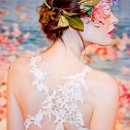 DEVOTION  <br /> Ivory floral embroidered mermaid silhouette with ivory linen and guipure vine straps.