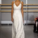 RENEE  <br /> Ivory cotton &quot;Poiret rose&quot; lace with beaded inset lined in platinum silk.