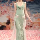 VENUS  <br /> Seafoam cowl neck velvet gown with iridescent lace and jeweled floral embellishments.
