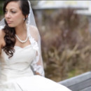 Strapless two-layer gown with custom lace mantilla veil