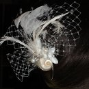 Beach Theme Fascinator Natural Seashells, Freshwater Pearls, Swarovski Crystals, Feathers and French Veiling. One of a pair.