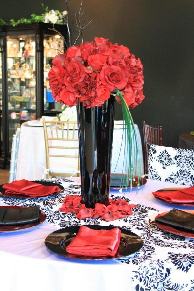 Black Red White Centerpieces Place Settings Winter Wedding Reception Photos Amp Pictures