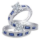 <b>Charlotte collection 6685-R &amp; 6685-B1</b>  <br /> <br />Hand engraved engagement ring from the Charlotte collection crafted with 0.09 carats of diamonds and 0.75 carats of baguette cut sapphires (center stone not included). Shown with matching wedding band crafted with 0.06 carats of diamonds and 0.68 carats of baguette cut sapphires.