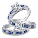 Charlotte collection 6685-R & 6685-B1 Hand engraved engagement ring from the Charlotte collection crafted with 0.09 carats of diamonds and 0.75 carats of baguette cut sapphires (center stone not included). Shown with matching wedding band crafted with 0.06 carats of diamonds and 0.68 carats of baguette cut sapphires.