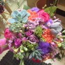 130x130 sq 1404240805419 bridal bouquet with oranges and purples an pinks