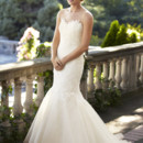 Elise Gossamer English net forms the sheer neckline and open back of this fluted wedding gown. Swathed with French Alencon lace, the fitted bodice flourishes into a flared skirt of silk organza.