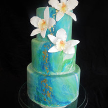 220x220 sq 1509937614387 blue marble wedding cake with edible gold leaf
