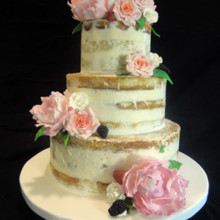 220x220 sq 1509937880660 naked cake with fresh peonies and garden roses