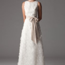 Amy Bateau neck wedding dress with A-line skirt and satin sash. Made in USA.