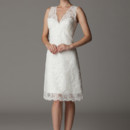 Claudette V-neck wedding dress in an knee length A-line silhouette. Made in USA.