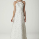 Nancy Halter style a-line wedding dress in confetti silk organza. Made in USA.