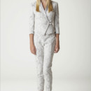 Pamela Lace wedding alternative pantsuit. Tailored jacket with satin stand-up collar. Made in USA.