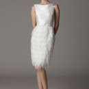 Veronica Bateau neckline with feather column skirt. Made in USA.