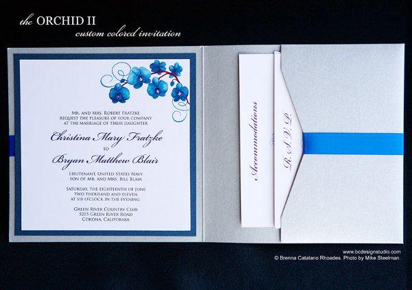 Blue Orchid Wedding Invitations: Modern Blue Silver Fall Garden Invitations Spring Summer