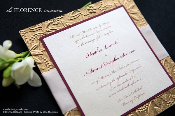 Gold Embossed Wedding Invitations: Burgundy Gold Ivory Fall Invitations Spring Summer Winter