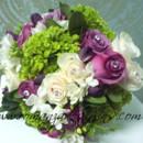 130x130 sq 1380813503321 purplerosestulipsgreenhydrangeawhitefreesiaandrosesgreenpitcrystalpins