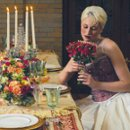 fall long and low centerpiece fruit and flowers with candles and rental decor