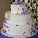 130x130 sq 1281239924757 orangepurpleflowersweddingcake