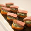 130x130 sq 1366657156152 sliced strip steak black truffle creamed spinach on a crostini