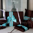 Guest Book, Pen, Ring Pillow, Flower Girl Basket in Tiffany Blue Chocolate Theme