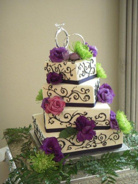 W9066- purple lime rose wedding cake | W9066 - A 4 tier ... Purple ...