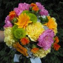 130x130 sq 1318531266786 pinkdahliaandorangewildflowerbouquet