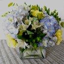 130x130 sq 1318532117114 bluehydrangeayellowcarnationandgreenberrycenterpiece